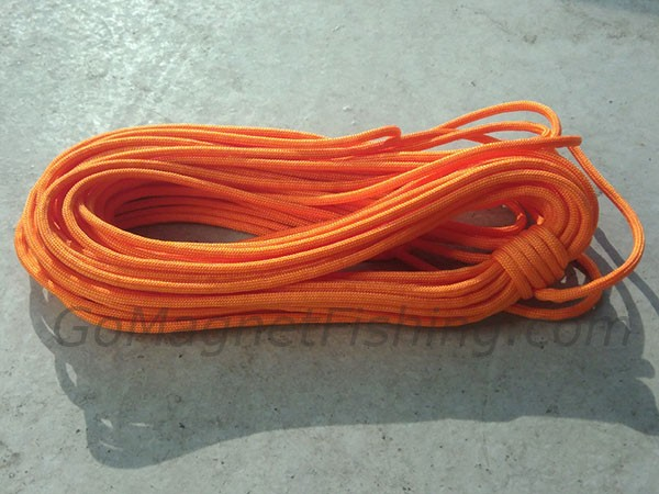 Magnet Fishing Rope - Nylon Orange Paracord - 50 feet length